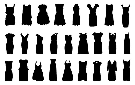 bata blanca: Juego de vestidos de silueta aislados sobre fondo blanco