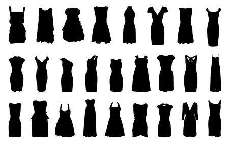 ankleiden: Set von Kleidern Silhouette auf wei�em Hintergrund Illustration