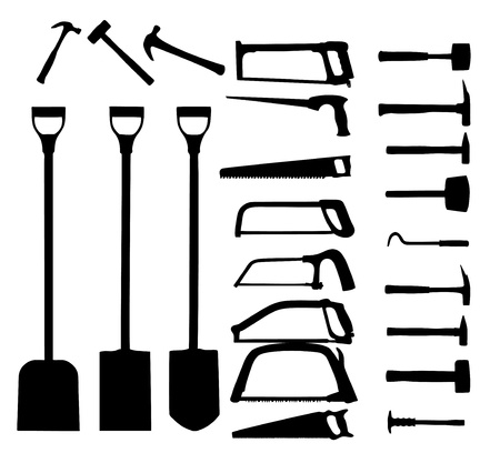 Set of power tools, shovel, drill, hammer  Vector icon  Vector