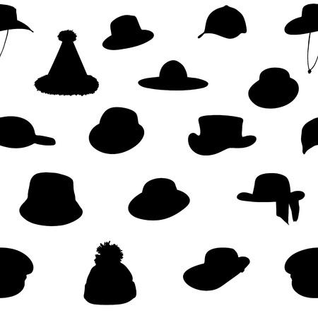 peaked cap: Wallets collection silhouette seamless pattern  vector illustrat Illustration