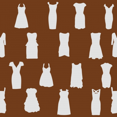 Set of dresses silhouette iseamless pattern  vector illustration Stock Vector - 15924071
