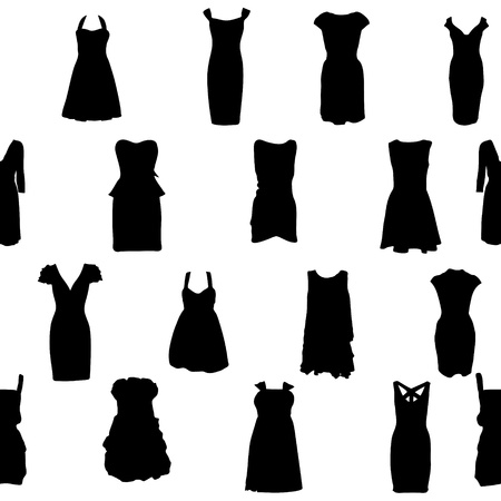 Set of dresses silhouette iseamless pattern  vector illustration Vector