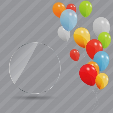 Glass frame on abstract metal background  with colored ballons  Illustration