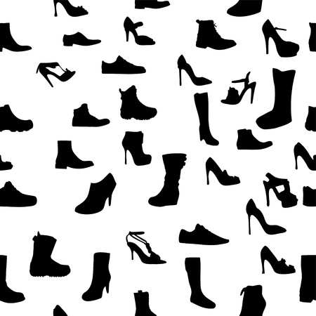 fetishes: Shoes silhouette seamless pattern  vector illustration  eps10