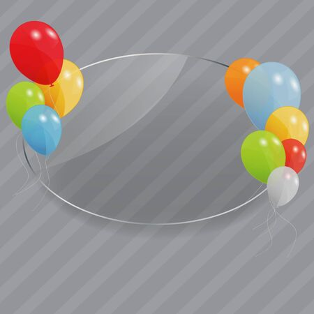 illustrati: Glass frame with flowers with colored ballons  Vector illustrati Stock Photo