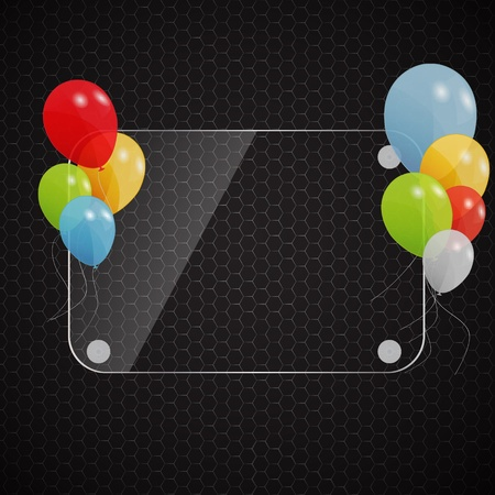 Glass frame on abstract metal background with colored ballons  V