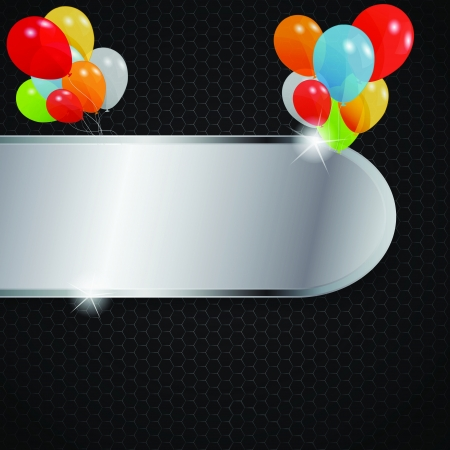 Glass frame on abstract metal background with colored ballons  V Stock Vector - 15924016