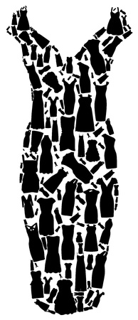 Set of dresses silhouette seamless pattern  vector illustration Stock Vector - 15924037