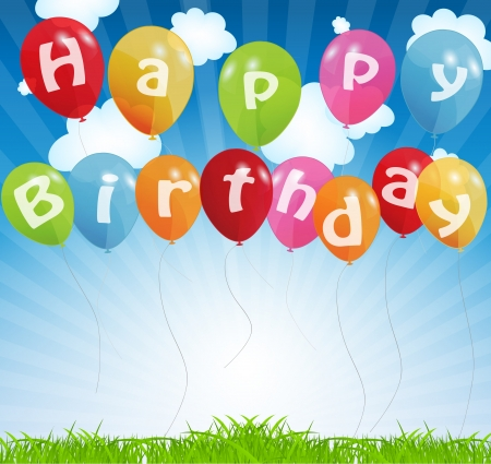 birthday card with colored balloons, vector illustration Stock Illustration - 15924042
