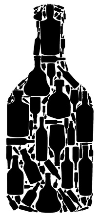 vector illustration silhouette alcohol bottle