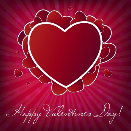 Happy Valentines Day card with heart  Stock Vector - 16188489