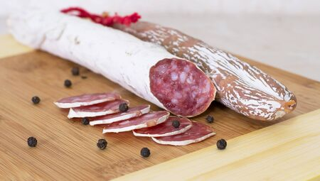 Culinary traditional spanish sausages on wooden  background Stock Photo - 16326445