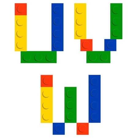 Alphabet set made of toy construction brick blocks isolated iso Vector