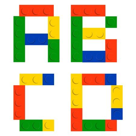 Alphabet set made of toy construction brick blocks isolated iso