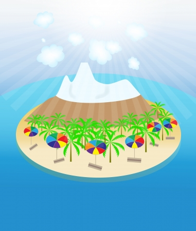 non urban scene: Island, palm trees, sun, umbrellas seamless pattern  Vector illu