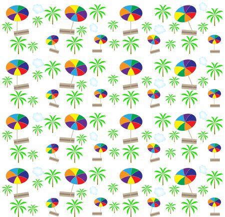 Palm trees, umbrellas seamless pattern  Vector illustration Stock Illustration - 16732056