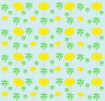 Palm trees, umbrellas seamless pattern  Vector illustration Stock Vector - 16731957