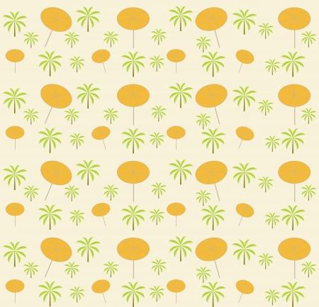 Palm trees, umbrellas seamless pattern  Vector illustration  Stock Vector - 16731956