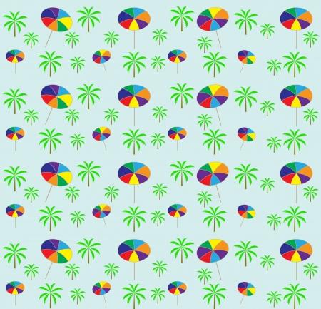 Palm trees, umbrellas seamless pattern  Vector illustration Stock Vector - 16731958