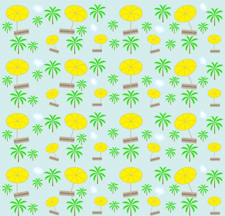 Palm trees, umbrellas seamless pattern  Vector illustration  Stock Vector - 16731964
