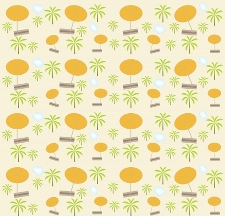 Palm trees, umbrellas seamless pattern  Vector illustration Stock Vector - 16731962