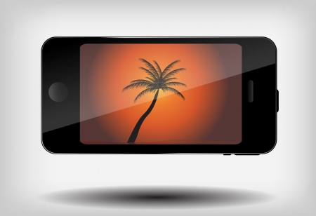 Abstract mobile phone with summer background and palm tree vecto Stock Vector - 16456631
