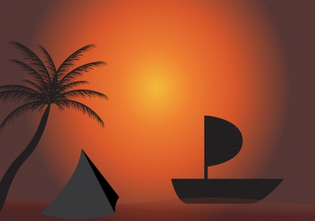 Palm, boat in the sunset  Vector illustration  EPS 10  Vector