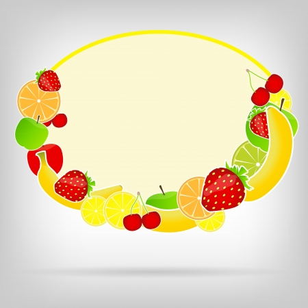 Frame with fresh fruits  illustration Stock Vector - 16567421