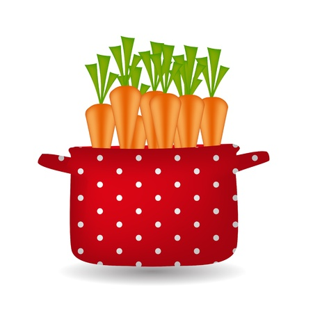 Red pot with carrots  Organic, diet, healthy food icon Stock Vector - 16567407