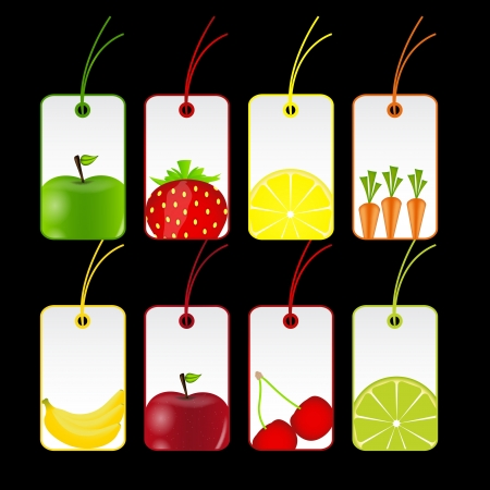 fresh fruits labels  illustration Stock Vector - 16567390