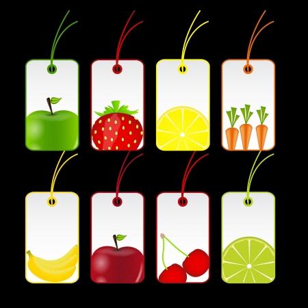 fresh fruits labels  illustration Stock Vector - 16567390