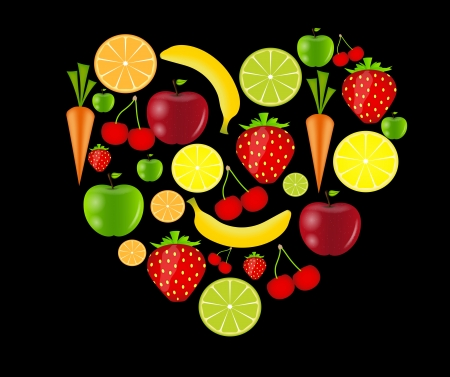 fresh fruits  illustration Stock Vector - 16585064
