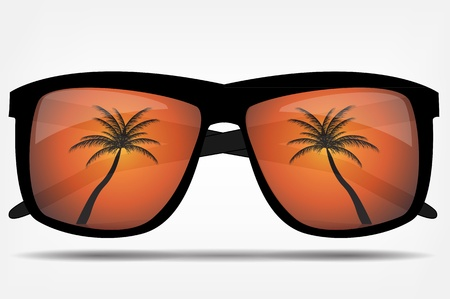 sunglasses reflection: Sunglasses with a palm tree  illustration