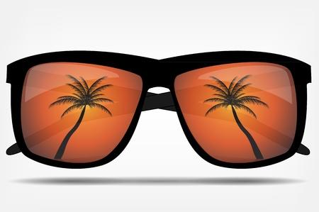 bikini cartoon: Sunglasses with a palm tree  illustration