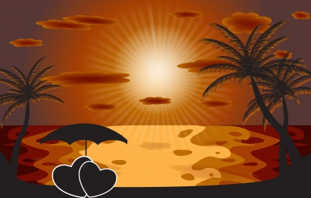 Palm in the sunset   illustration     Stock Vector - 16585079