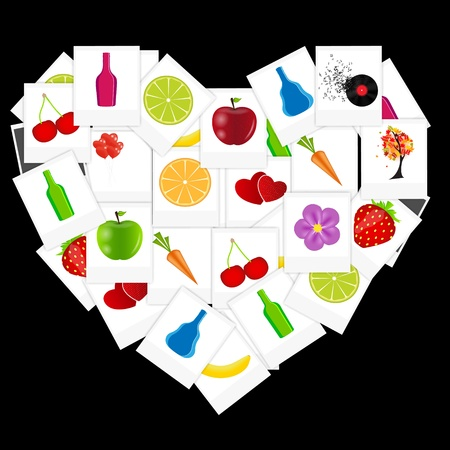Heart from instant photos vector illustration Stock Vector - 16630620