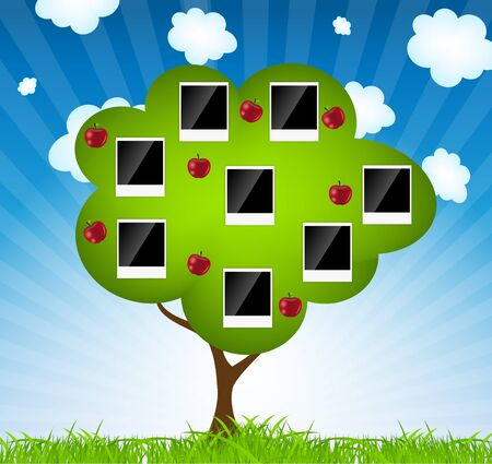 old family: Family tree vector illustration