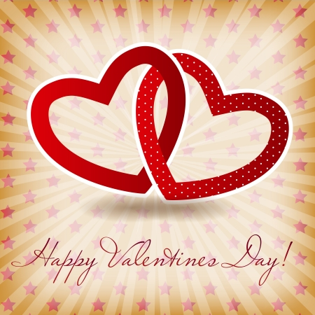 Happy Valentines Day card with heart  Vector illustration illustration