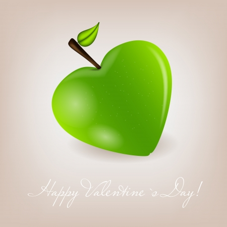 Happy Valentines Day card with apple heart  Vector illustration Vector