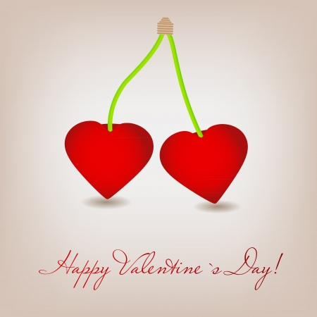 Happy Valentines Day card with cherry heart  Vector illustration Vector