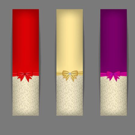 Set of three banners with ribbons   photo