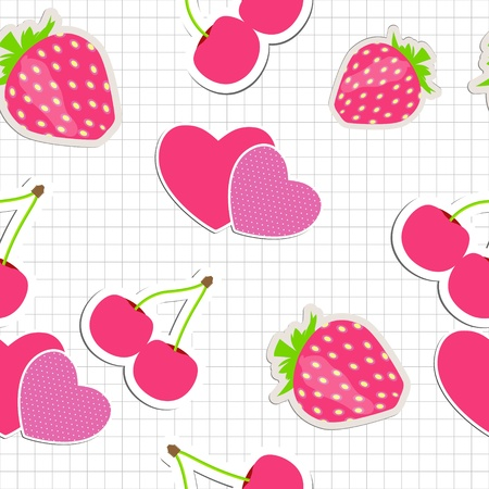 Seamless pattern with heart, cherry, strawberry   Vector