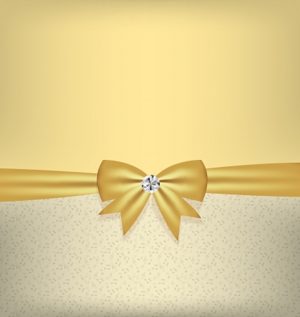 Card with bow and ribbon vector illustration