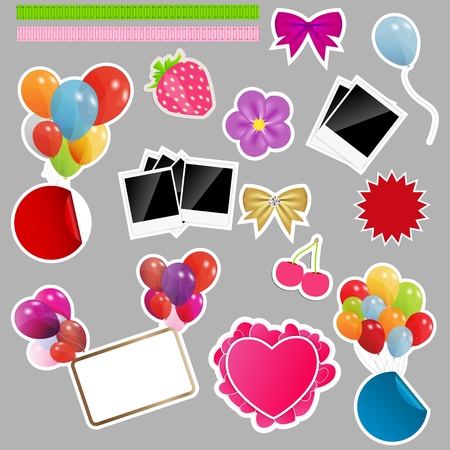 Set of scrapbook elements  Vector illustration  illustration