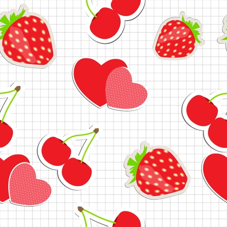 Seamless pattern with heart, cherry, strawberry  Vector illustra Vector