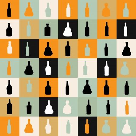 vector illustrationseamless pattern silhouette alcohol bottle