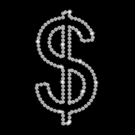 Abstract beautiful black diamond dollar sign vector illustration Stock Vector - 16984948