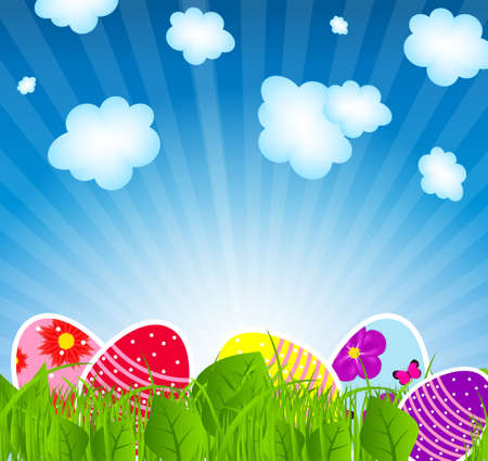 Vector illustration background with  easter eggs illustration