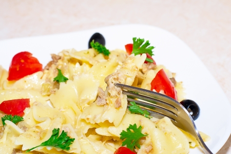 Pasta ribbons, cherry tomatoes and olives Stock Photo - 17014646