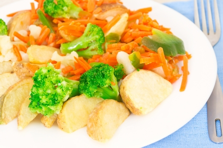 Mixed vegetables on a plate with fork Stock Photo - 17014657